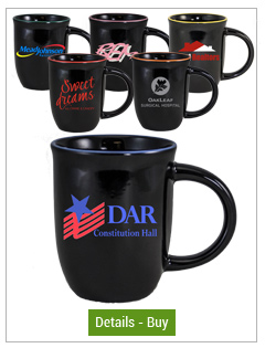 14 oz Salem Ceramic Mugs, Gloss Black with Halo Colored Accent