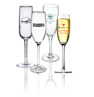 Imprinted champagne Nobless flute glass