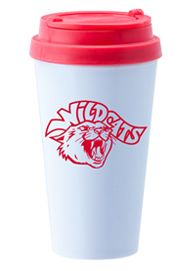 14 oz. Double Wall Sedici travel mug w/red lid14 oz. Double Wall Sedici travel mug w/red lid