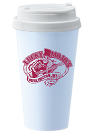 14 oz. Double Wall Sedici travel mug w/white lid14 oz. Double Wall Sedici travel mug w/white lid