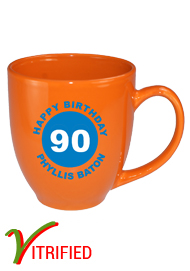 15 oz glossy vitrified bistro coffee mugs - california orange15 oz glossy vitrified bistro coffee mugs - california orange