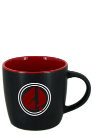 12 oz Effect Two Tone Matte Finish Black Out/Red In Mug