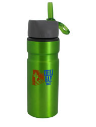 28 oz Green Outback Aluminum Body Flip Up Spout/Built in Carabin