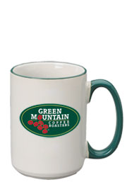 15 oz large halo ceramic mug - green handle15 oz large halo ceramic mug - green handle