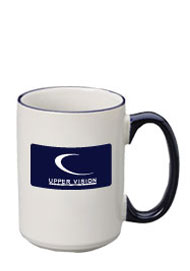 15 oz large halo ceramic mug - cobalt handle15 oz large halo ceramic mug - cobalt handle