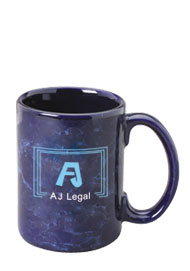 15 oz large marble coffee mug  - cobalt blue