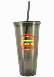 24 oz Smoke journey promotional travel cup with lid and straw24 oz Smoke journey promotional travel cup with lid and straw