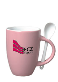12 oz spoon coffee mug - pink
