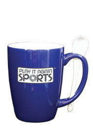 12 oz spoon mug coffee mug w/spoon - cobalt blue