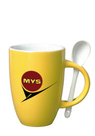 12 oz spoon mug coffee mug w/spoon - yellow