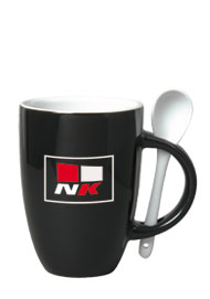 12 oz spoon mug coffee mug w/spoon - black