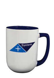 17 oz bakersfield coffee mug - cobalt blue in & handle