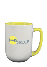 17 oz bakersfield two tone coffee mugs - yellow