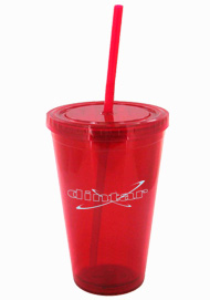 16 oz Red Journey Promo travel cup with lid and straw16 oz Red Journey Promo travel cup with lid and straw