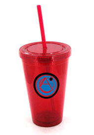 16 oz red journey travel cup with lid and straw