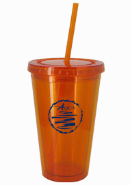 16 oz Tangerine Journey customizable travel cup16 oz Tangerine Journey customizable travel cup