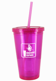 16 oz Magenta journey travel cup with lid and straw16 oz Magenta journey travel cup with lid and straw