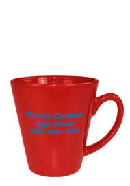 12 oz tulsa latte coffee mug - red out
