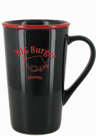 16 oz horizon funnel latte mug - black with red rim16 oz horizon funnel latte mug - black with red rim