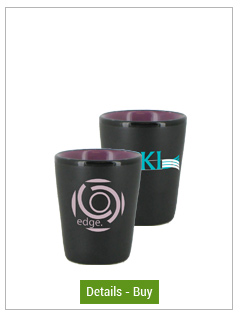 1.5 oz ceramic shot glass - matte black out/gloss Lilac in