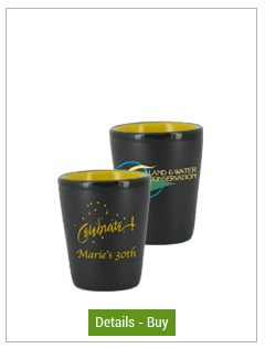 1.5 oz ceramic shot glass - matte black out/gloss Yellow in1.5 oz ceramic shot glass - matte black out/gloss Yellow in