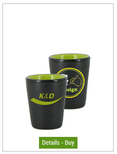 1.5 oz ceramic shot glass - matte black out/gloss Lime Green in