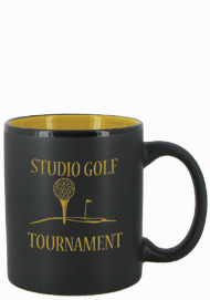11 oz Hilo Two Tone Matte Finish Black Out/Yellow In CHandle Mug11 oz Hilo Two Tone Matte Finish Black Out/Yellow In CHandle Mug