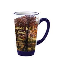 16 oz glossy latte picture mug - cobalt and white16 oz glossy latte picture mug - cobalt and white