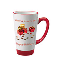 16 oz glossy latte picture mug - red and white16 oz glossy latte picture mug - red and white