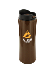14 oz clicker travel mug - brown