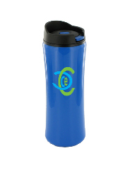 14 oz clicker travel mug - dark blue