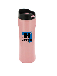 14 oz clicker travel mug - pink