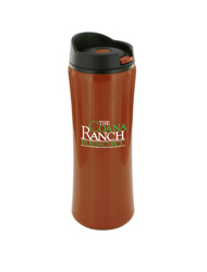 14 oz clicker travel mug - rust