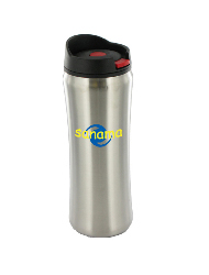 14 oz clicker travel mug - silver