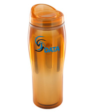14 oz optima chrome travel mug - orange