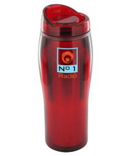 14 oz optima chrome travel mug - red