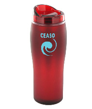 14 oz optima matte surface travel mug - red