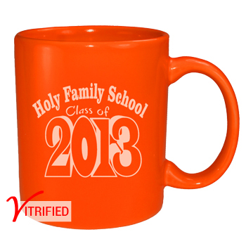 11 oz vitrified coffee mug - california orange