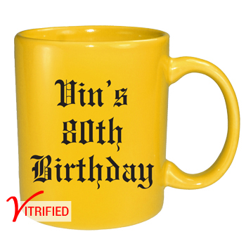 11 oz vitrified coffee mug - lemon yellow