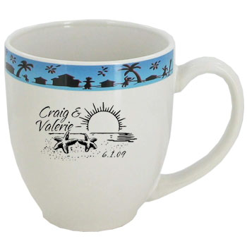 15 oz Personal glossy bistro coffee mugs - Jamaica Dance