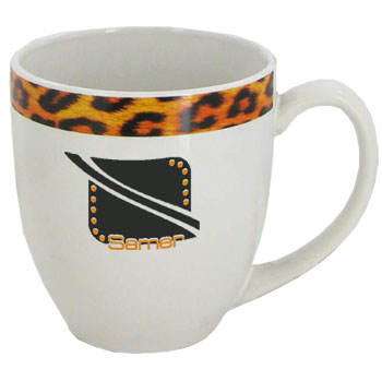 15 oz glossy bistro coffee mugs - Kenya Cheetah