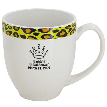 15 oz Unique glossy bistro coffee mugs - Kenya Leopard