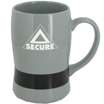 14 oz oregon belt mug - grey w/ black belt
