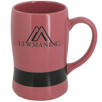14 oz oregon belt mug - pink w/ black belt