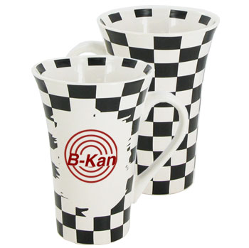 12 oz glossy funnel latte mug - white w/checkerboard design