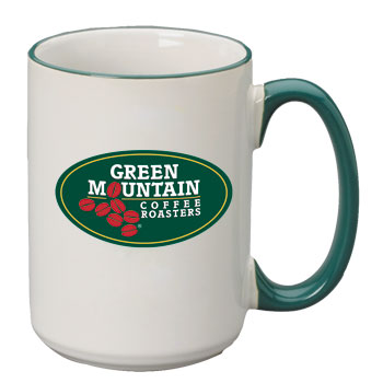 15 oz large halo ceramic mug - green handle