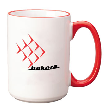 15 oz large halo ceramic mug - red handle