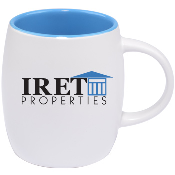 14 oz Vero Mug - Silk White Out/Gloss Sky Blue In