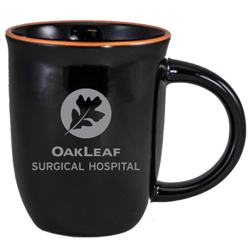14 oz Salem Gloss Black Custom Mug with Orange Halo Accent