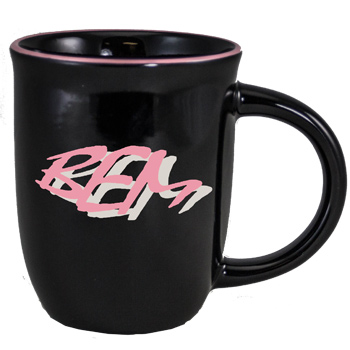 14 oz Salem Gloss Black Custom Mug with Pink Halo Accent